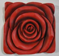 Resin Wall Art - Red Rose Square Panel