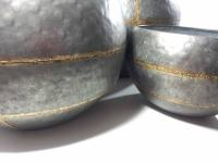 Set Of 3 Large Round Bowl Metal Planters