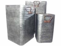 Set Of 3 Large Square Metal Corrugated Planters