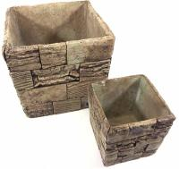 Set Of 4 Square Stone Flower Pot Planters