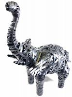 Small Grey Metal Elephant Standing Statue
