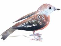 Small Metal Bird Ornament - Robin