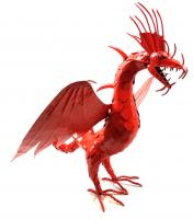 Small Red Intricate Metal Winged Dragon Statue