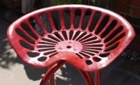 Vintage Industrial Red Tractor Seat Stool