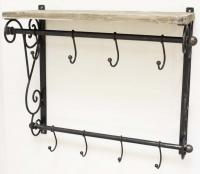 Vintage Metal Coat Hook And Shelf