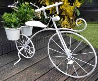 Vintage Style Bicycle Planter - White