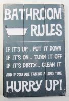 Wooden Wall Art - Bathroom Rules Sign