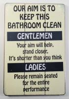 Wooden Wall Art - Clean Bathroom Sign