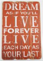 Wooden Wall Art - Dream, Live Sign Red
