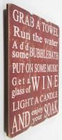 Wooden Wall Art - Grab A Towel Sign Ruby