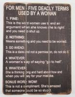 Wooden Wall Art - Men Deadly Terms Sign