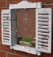 Wooden Wall Mirror - Distressed Shutter Mirror Window