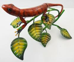 Red Metal Gecko Sculpture