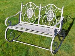 Antique Grey Metal Rocking Bench