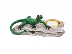 Candle Holder - Green Gecko On Rock
