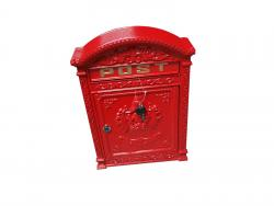Cast Metal Wall Mounted Post Box - Red