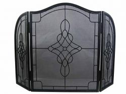Decorative Filigree 3 Fold Fire Screen Spark Guard