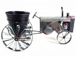 Galvanised Tin Tractor Windmill Flower Pot Planter