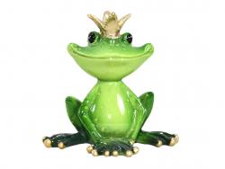 Green Frog With Crown Figurine