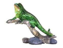 Green Lizard On Branch Figurine