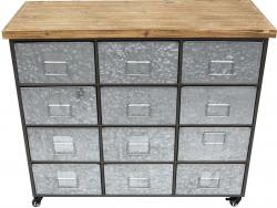 Industrial Metal Cabinet or Side Unit - 12 Drawer