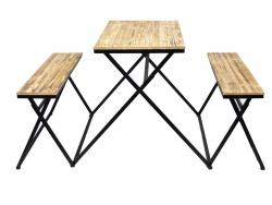 Industrial Rectangular Folding Table and Benches