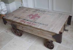 Industrial Wine Warehouse Cart Coffee Table