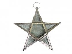 Lantern - Metal And Clear Glass Star