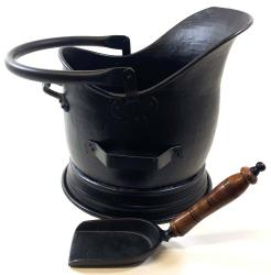 Large Black Helmet Coal Scuttle And Shovel