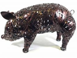 Large Bronze Metal Pig