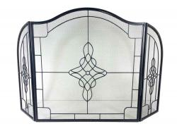 Large Decorative Filigree 3 Fold Fire Screen Spark Guard