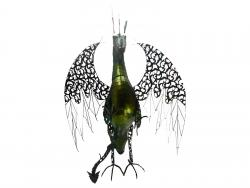 Large Intricate Green Metal Winged Dragon Statue