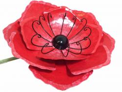 Large Metal Garden Flower Stake - Red Poppy