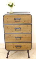 Large Vintage Industrial 4 Drawer Cabinet