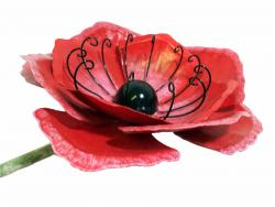 Medium Metal Garden Flower Stake - Red Poppy