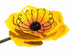 Medium Metal Garden Flower Stake - Yellow Poppy