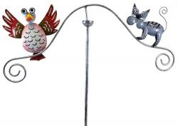 Metal Garden Wind Vane Spinner - Bird and Cat Design