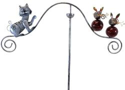Metal Garden Wind Vane Spinner - Cat and Mouse Design