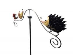 Metal Garden Wind Vane Spinner - Hedgehog Family Design
