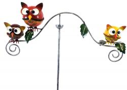 Metal Garden Wind Vane Spinner - Round Hooting Owl Design