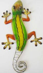 Metal Glass Wall Art - Green Yellow Gecko Lizard