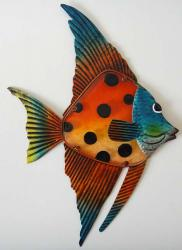 Metal Glass Wall Art - Orange Black Spot Angel Fish