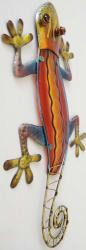 Metal Glass Wall Art - Red Orange Gecko Lizard