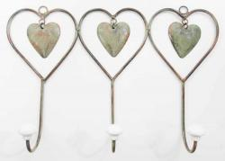 Metal Triple Shabby Chic Heart Coat Hook