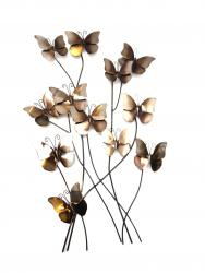 Metal Wall Art - Antique Silver Bronze Butterflies