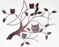 Metal Wall Art - Bronze 4 Owl Branch