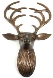 Metal Wall Art - Bronze Flat Antler Deer Stag Head
