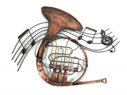 Metal Wall Art - French Horn Music Swirl