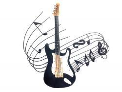 Metal Wall Art   Electric Guitar Music Swirl