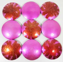 Metal Wall Art - Barbie Pink Glow Abstract Discs